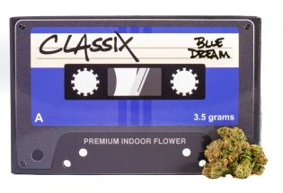 Classix blue box and Cannabis beside it