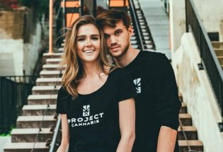 a man and woman, wearing black t-shirts with project cannabis text on it