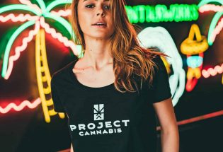 a woman with yellow hair wearing black t-shirt with project cannabis text on it